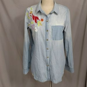 Maeve Chambray Shirt Distressed Colorful Denim Top